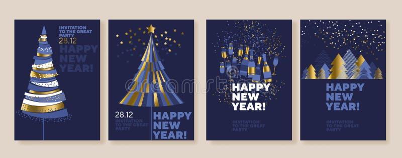 Año Nuevo y carteles abstractos del árbol de navidad stock de ilustración