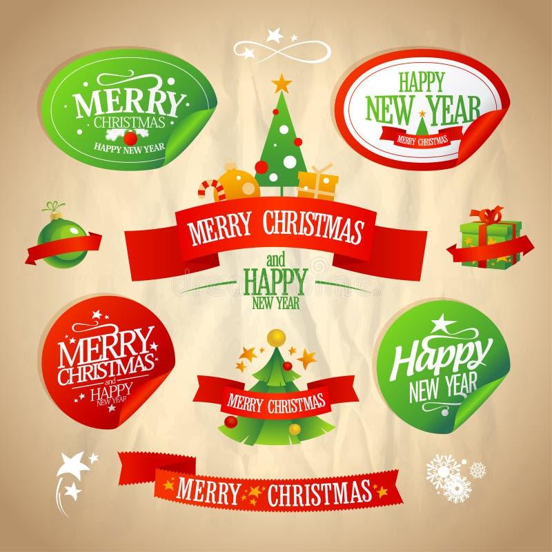 Año Nuevo y colección de los diseños de la Navidad. stock de ilustración