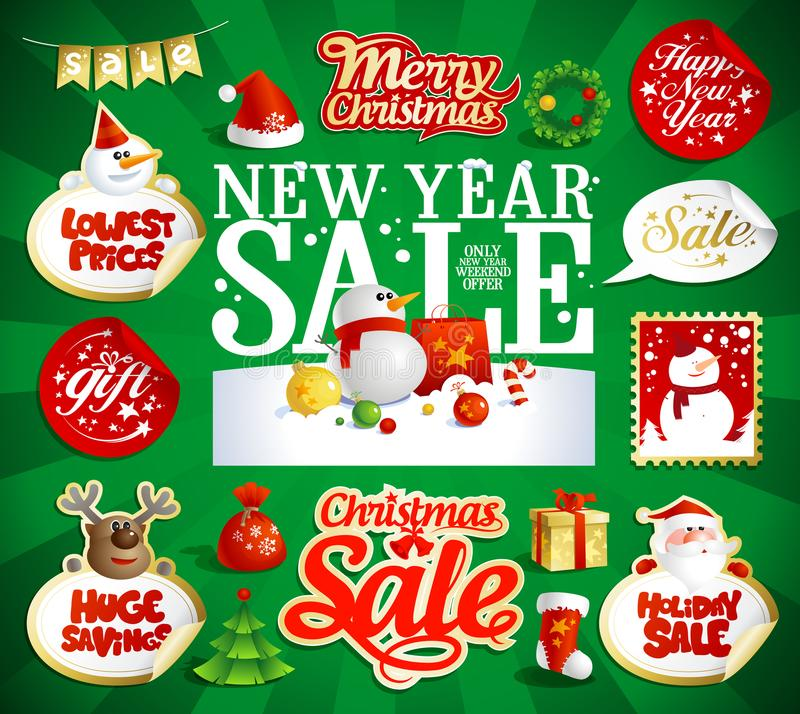 Año Nuevo y el vector de la venta de la Navidad diseña y las etiquetas engomadas stock de ilustración