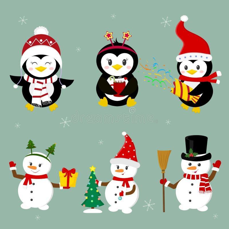 Año Nuevo y tarjeta de Navidad Fije de tres pingüinos y de tres caracteres de los muñecos de nieve en diversos sombreros y de act libre illustration