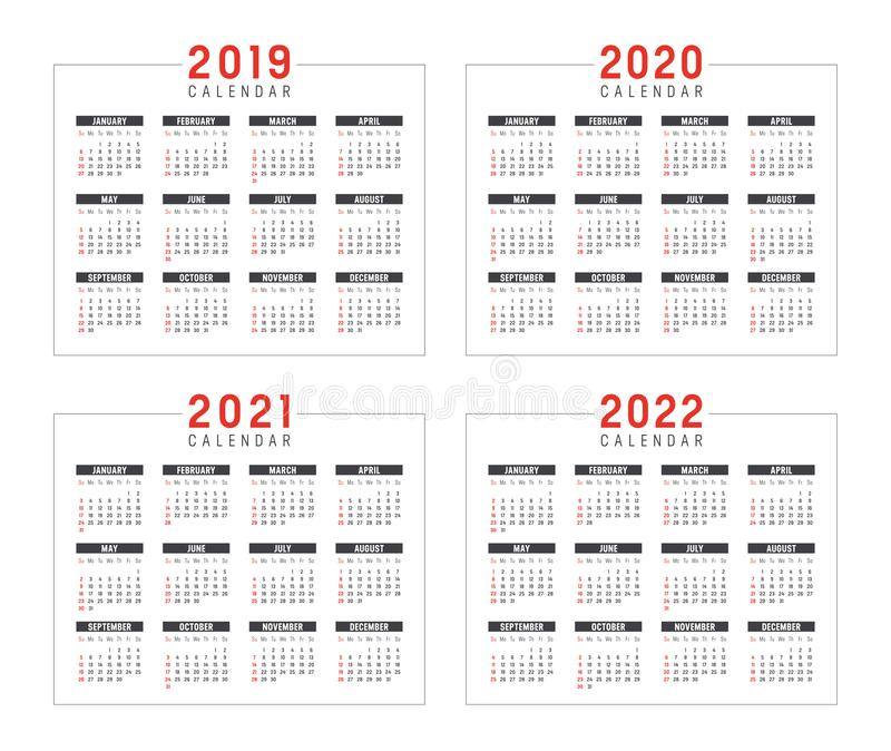 Calendario 2020 2021 2022 Años 2019 2020 2021 2022 Calendarios Ilustración del Vector