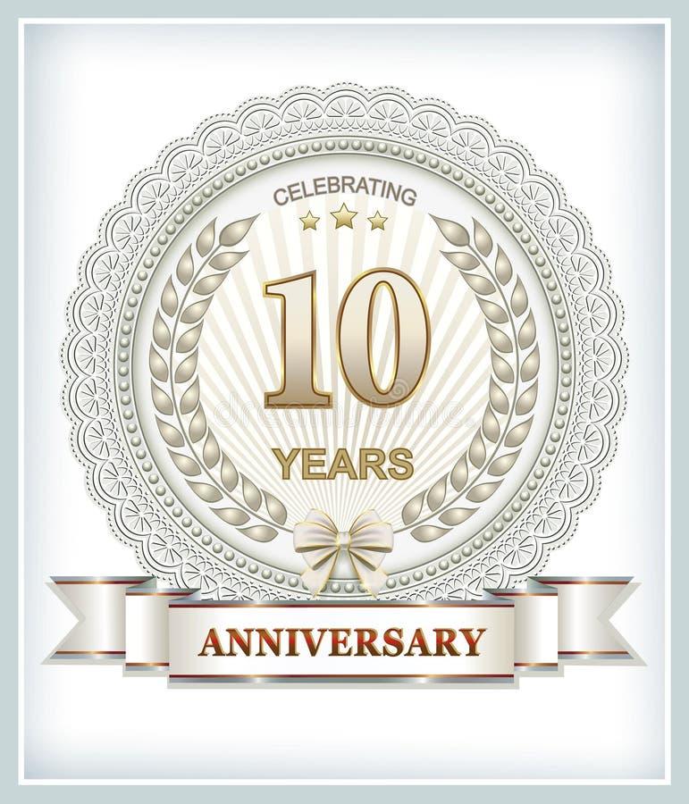 10 años de aniversario ilustración del vector