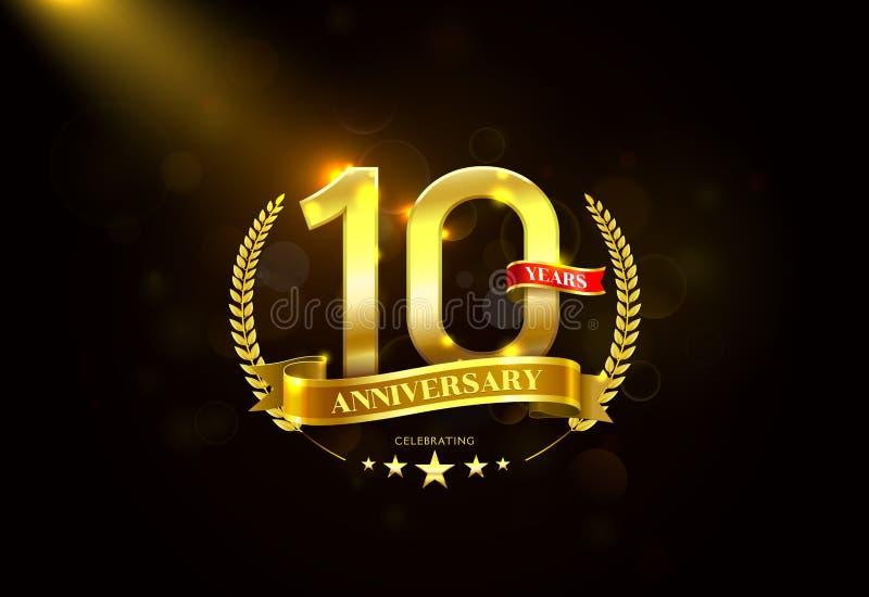 10 años de aniversario con la cinta de oro de la guirnalda del laurel ilustración del vector