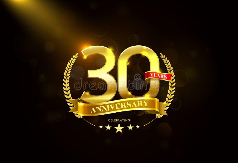 30 años de aniversario con la cinta de oro de la guirnalda del laurel stock de ilustración