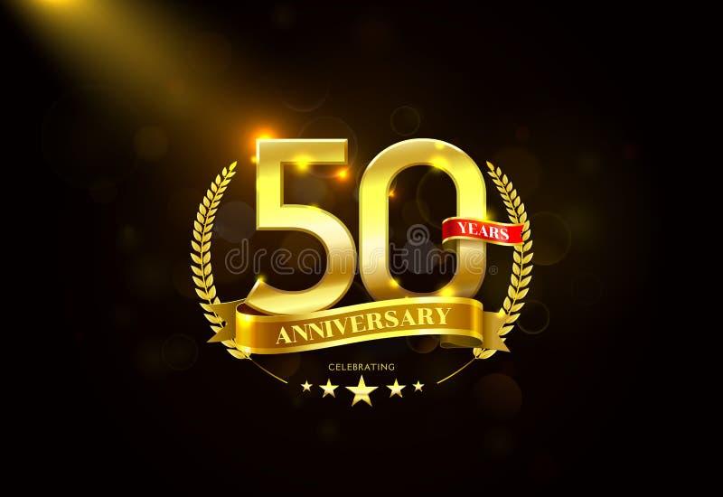 50 años de aniversario con la cinta de oro de la guirnalda del laurel stock de ilustración