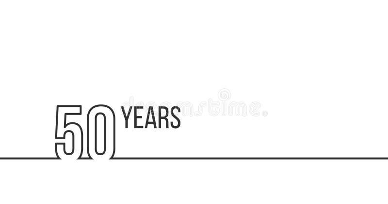 50 a?os de aniversario o cumplea?os Gr?ficos lineares del esquema Puede ser utilizado para imprimir los materiales, brouchures, c stock de ilustración