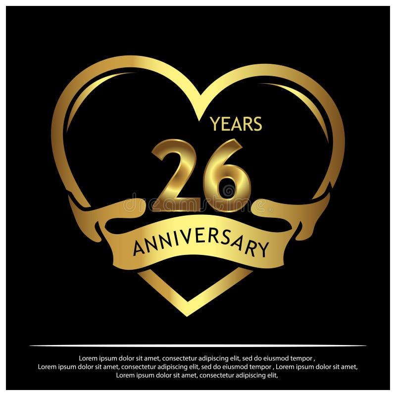 26 años de aniversario de oro dise?o de la plantilla del aniversario para la web, juego, cartel creativo, folleto, prospecto, avi stock de ilustración