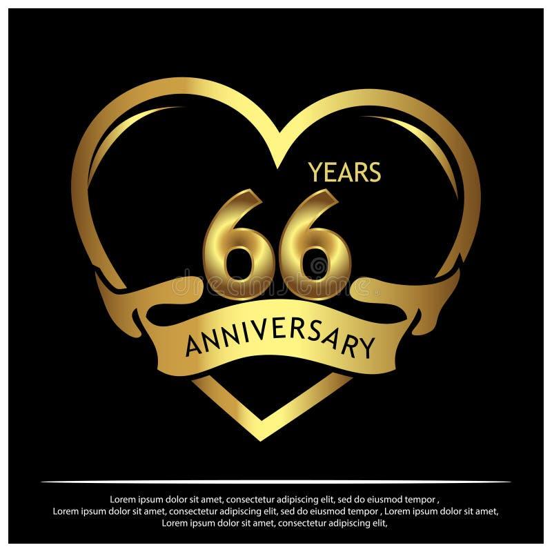 66 años de aniversario de oro dise?o de la plantilla del aniversario para la web, juego, cartel creativo, folleto, prospecto, avi libre illustration