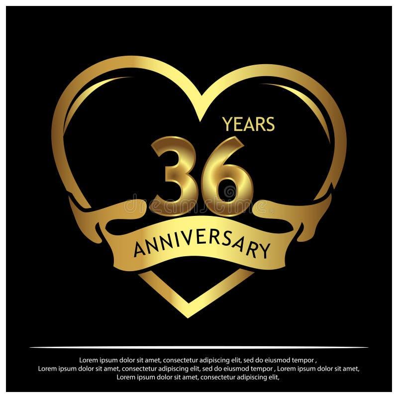 36 años de aniversario de oro dise?o de la plantilla del aniversario para la web, juego, cartel creativo, folleto, prospecto, avi libre illustration