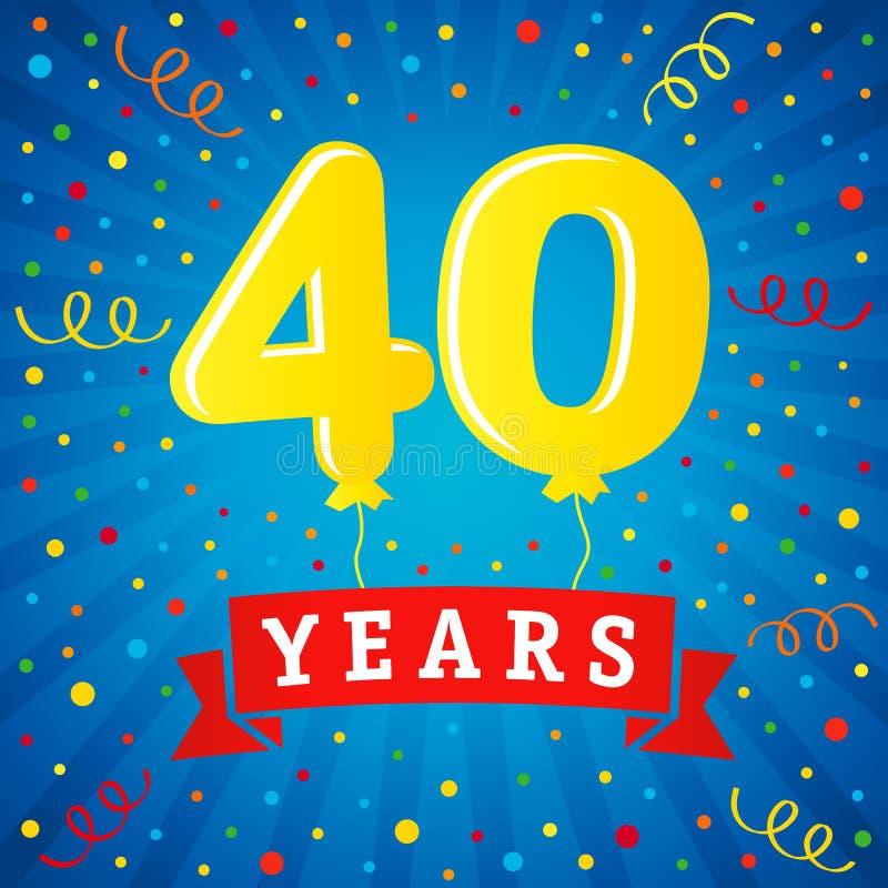 40 años de celebración del aniversario con los globos coloreados stock de ilustración