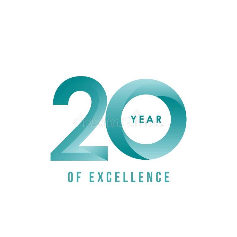20 años de ejemplo del diseño del vector de la excelencia libre illustration