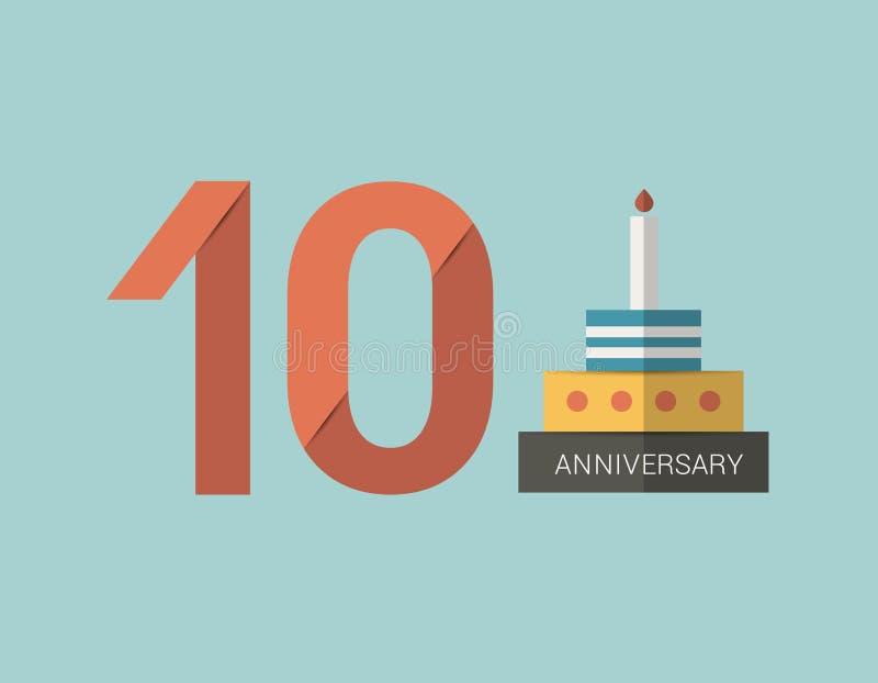 10 años de emblema del aniversario Diseño plano de la sombra libre illustration