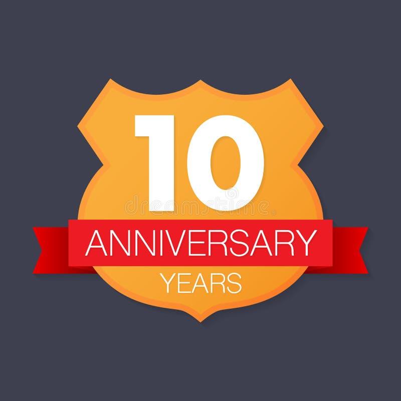 10 años de emblema del aniversario Icono o etiqueta del aniversario 10 años elemento del diseño de celebración y de la enhorabuen stock de ilustración
