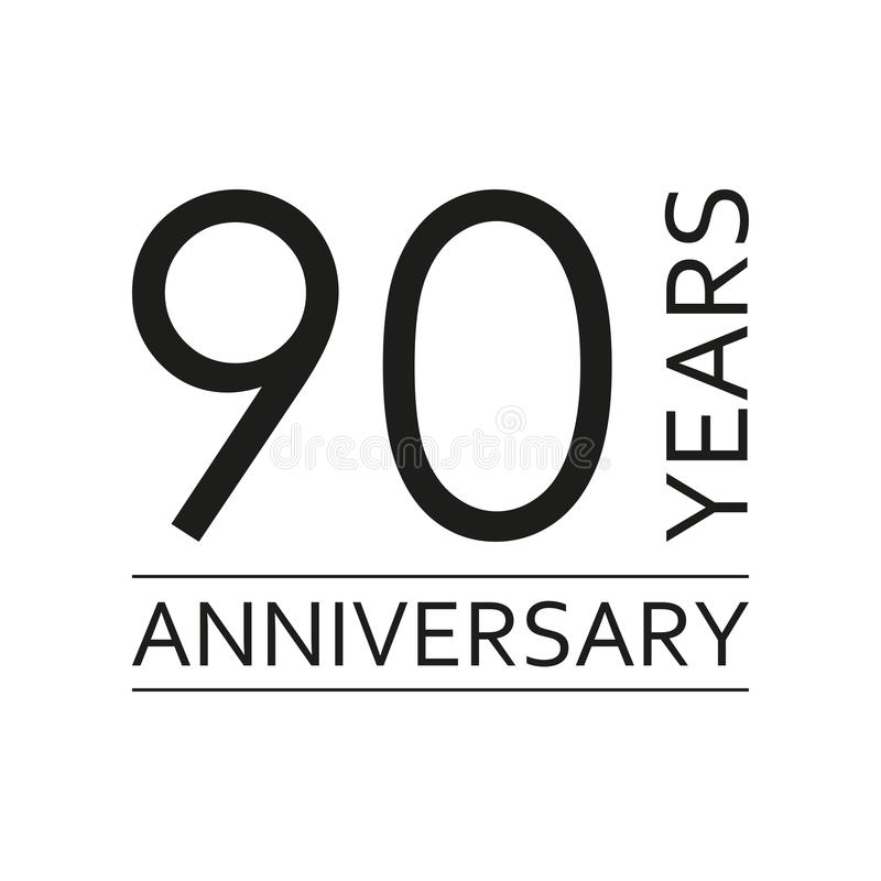90 años de emblema del aniversario Icono o etiqueta del aniversario 90 años elemento del diseño de celebración y de la enhorabuen ilustración del vector