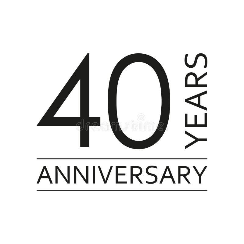 40 años de emblema del aniversario Icono o etiqueta del aniversario 40 años elemento del diseño de celebración y de la enhorabuen stock de ilustración