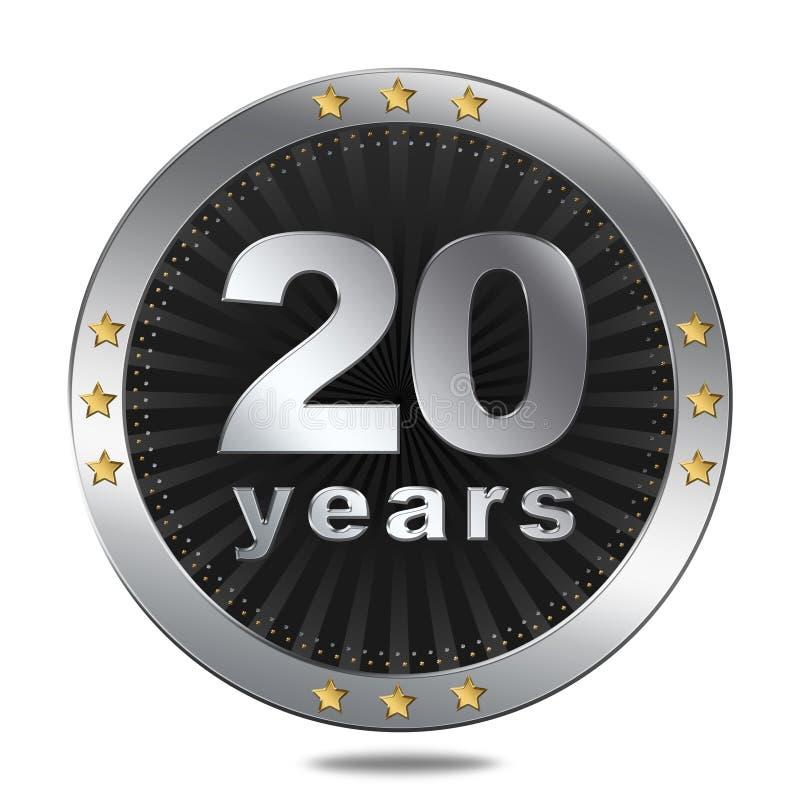 20 años de insignia del aniversario - color de plata stock de ilustración