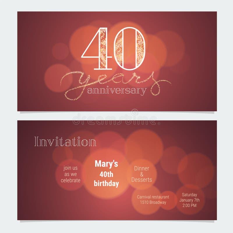 40 años de invitación del aniversario al ejemplo del vector de la celebración ilustración del vector