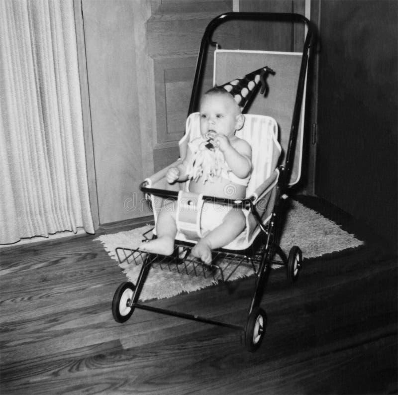Años 50 de la imagen del bebé del cumpleaños del vintage imágenes de archivo libres de regalías