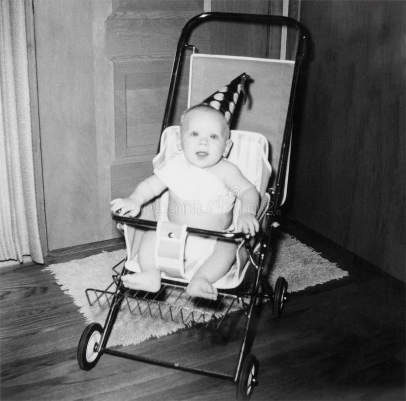 Años 50 de la imagen del bebé del cumpleaños del vintage fotos de archivo