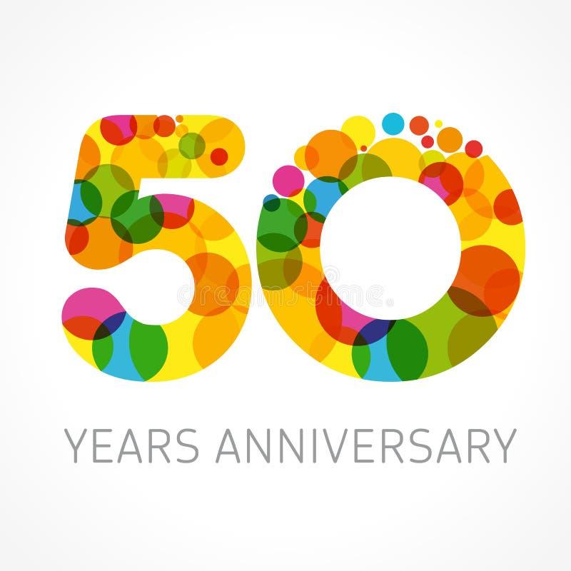 50 años de logotipo coloreado círculo del aniversario ilustración del vector