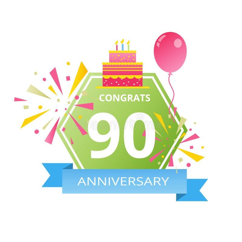 90 años de logotipo del aniversario con el fondo abstracto colorido, los elementos para la tarjeta de la invitación y el cartel V ilustración del vector