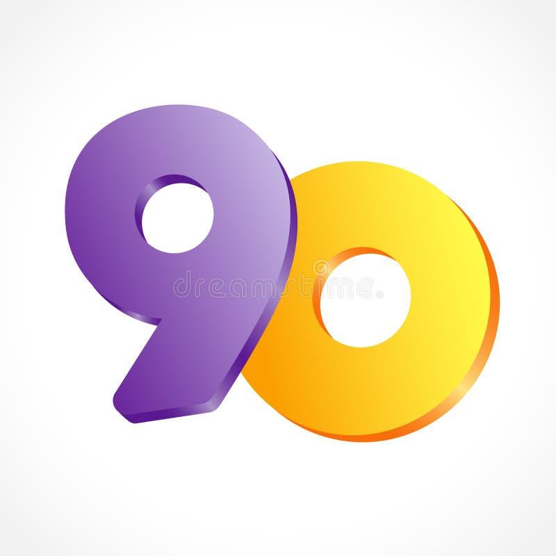 90 años de logotipo del aniversario ilustración del vector