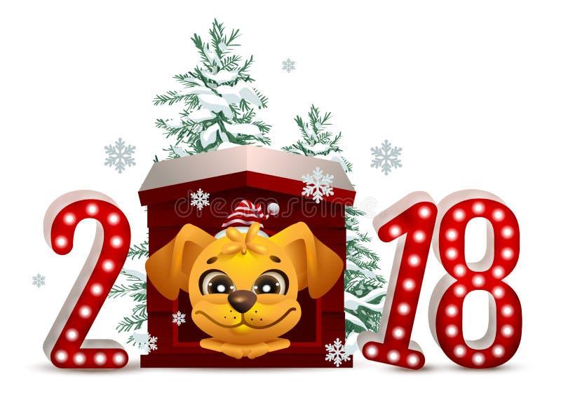 2018 años de perro amarillo en calendario chino El perro de la historieta en caseta de perro mira árbol delantero y de la Navidad libre illustration