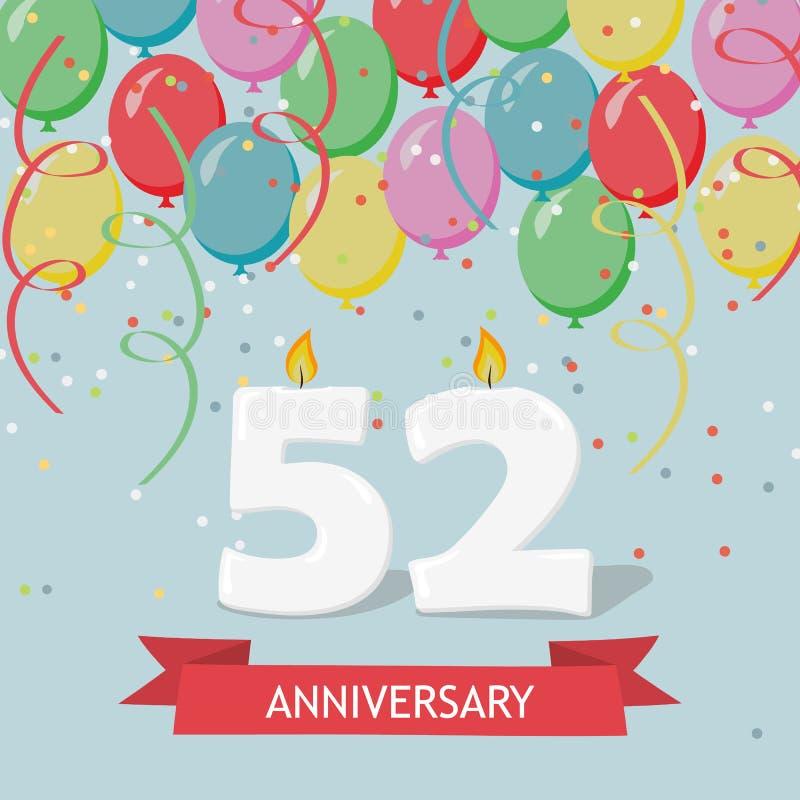 52 años de selebration Tarjeta de felicitación del feliz cumpleaños stock de ilustración