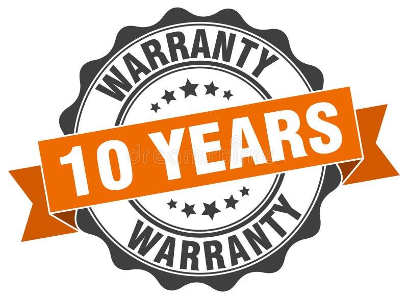 10 años de sello de la garantía ilustración del vector