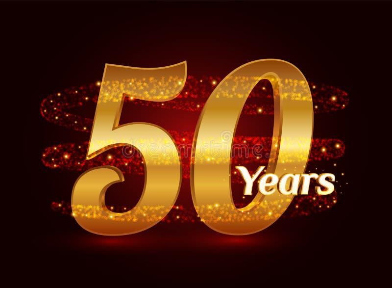 50 años del aniversario 3d de celebración de oro del logotipo con las partículas chispeantes de estrella que brillan del rastro e stock de ilustración