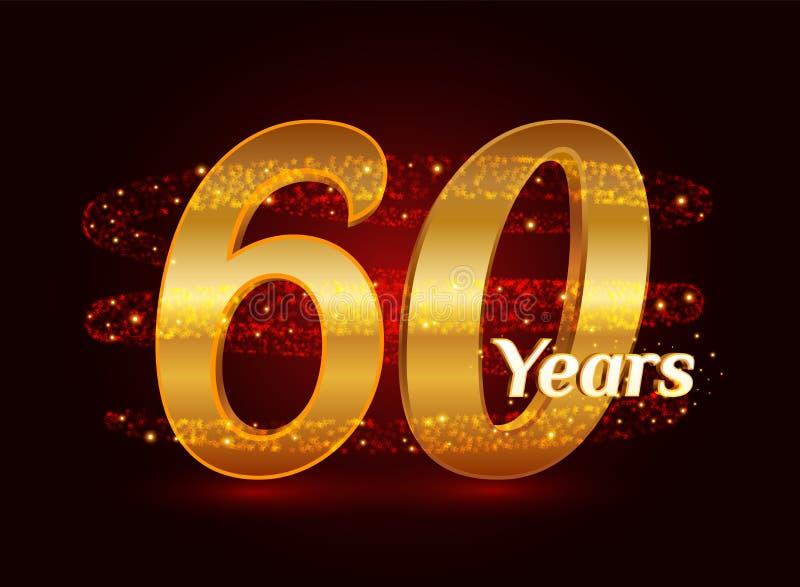60 años del aniversario 3d de celebración de oro del logotipo con las partículas chispeantes de estrella que brillan del rastro e stock de ilustración