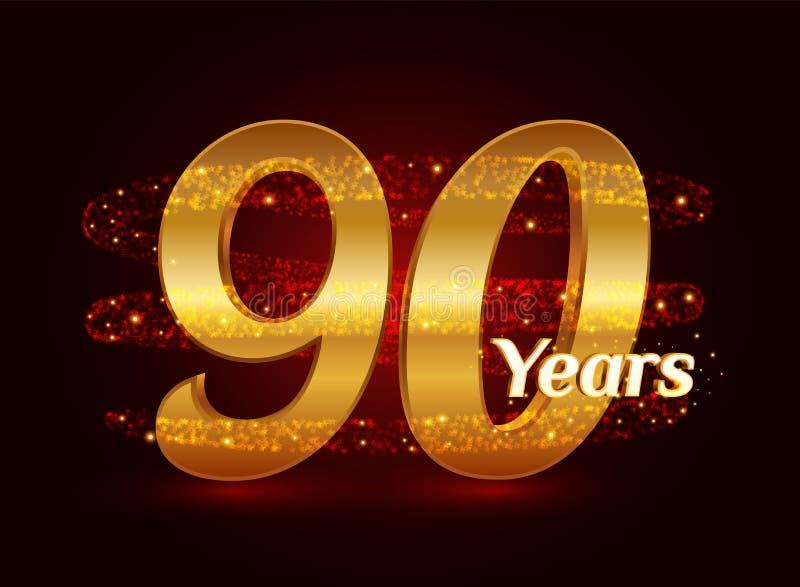 90 años del aniversario 3d de celebración de oro del logotipo con las partículas chispeantes de estrella que brillan del rastro e stock de ilustración