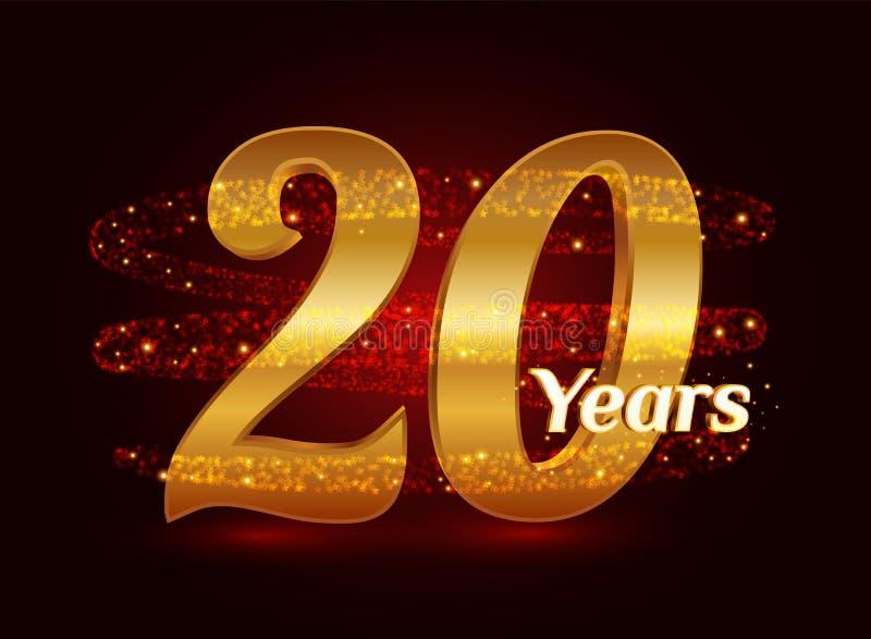 20 años del aniversario 3d de celebración de oro del logotipo con las partículas chispeantes de estrella que brillan del rastro e stock de ilustración
