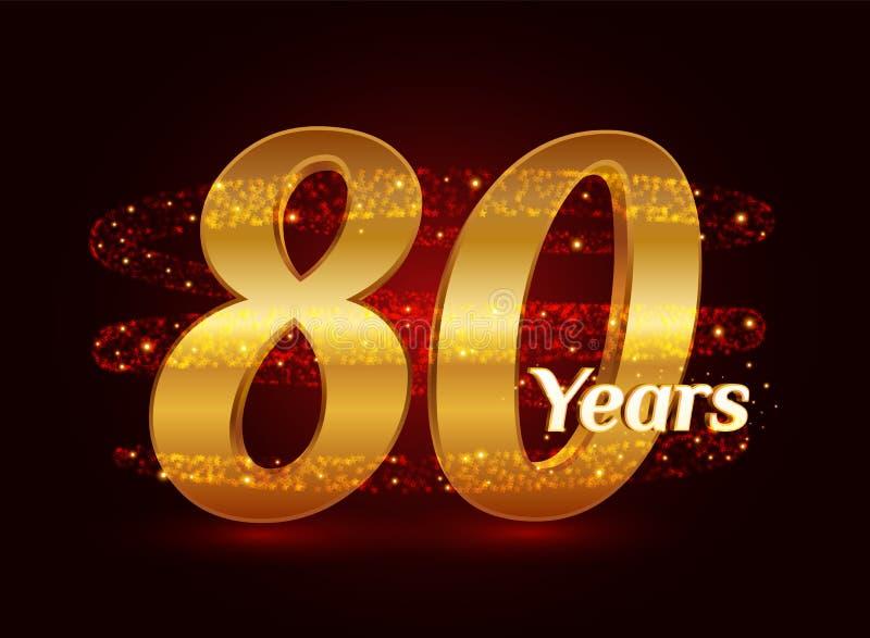 80 años del aniversario 3d de celebración de oro del logotipo con las partículas chispeantes de estrella que brillan del rastro e ilustración del vector