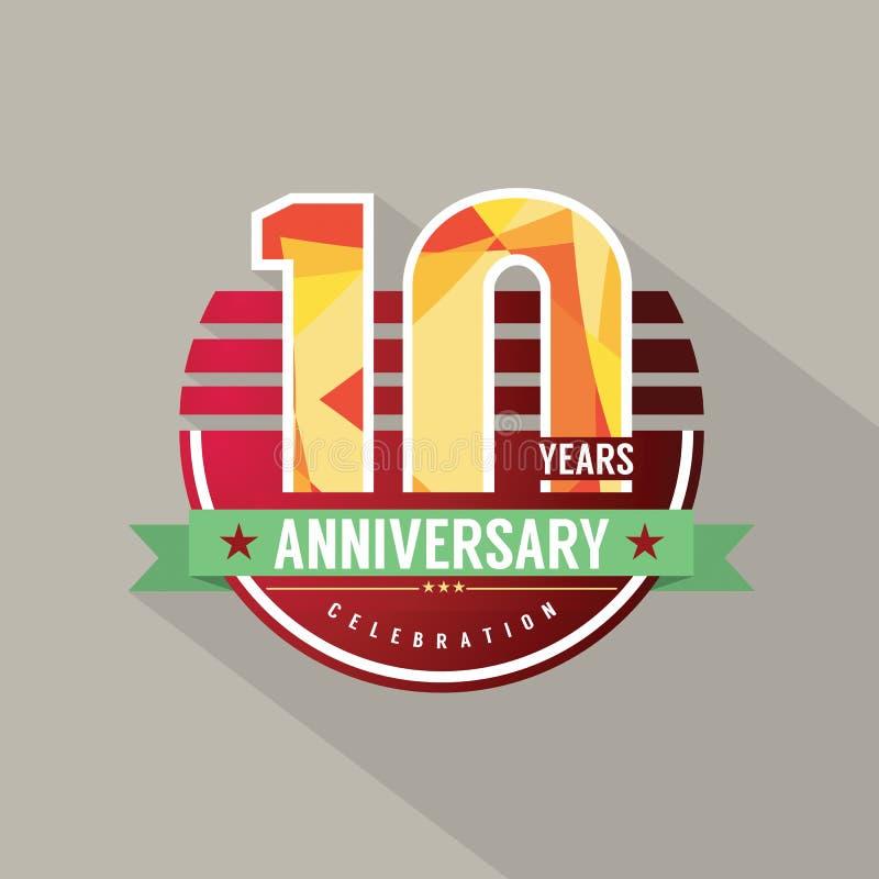10 años del aniversario de diseño de la celebración stock de ilustración