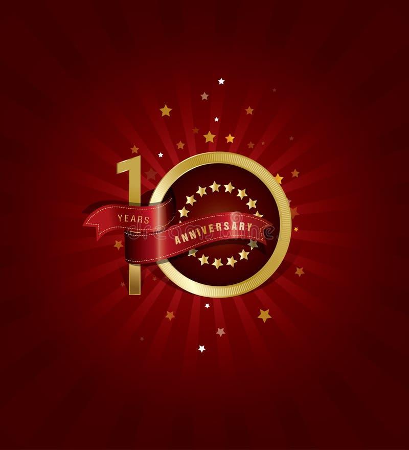 10 años del aniversario de diseño de la plantilla con el fondo abstracto rojo libre illustration