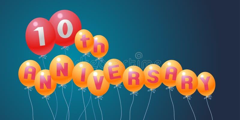 10 años del aniversario de ejemplo del vector, bandera, aviador, logotipo ilustración del vector