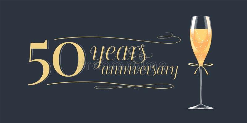 50 años del aniversario de icono del vector, logotipo ilustración del vector