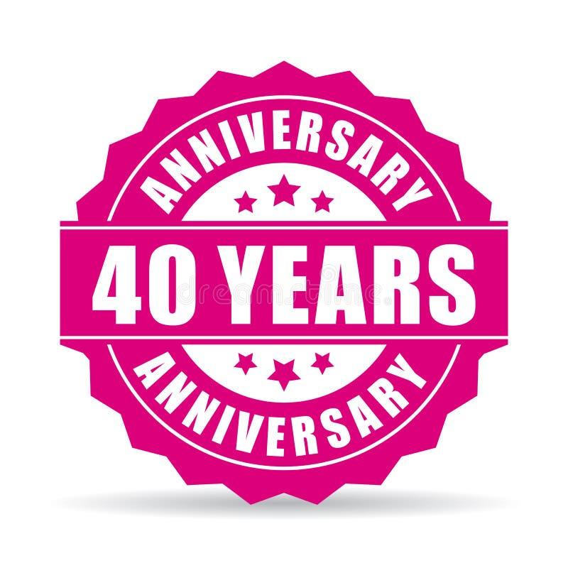 40 años del aniversario de icono del vector ilustración del vector