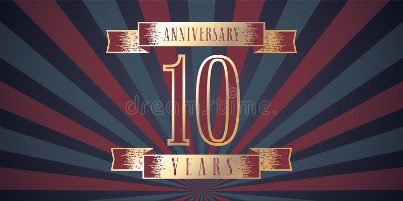 10 años del aniversario de icono del vector, logotipo ilustración del vector