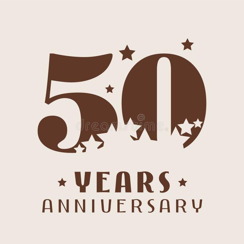 50 años del aniversario de icono del vector, logotipo stock de ilustración