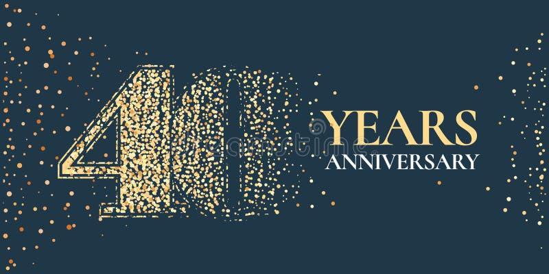 40 años del aniversario de la celebración de icono del vector, logotipo ilustración del vector