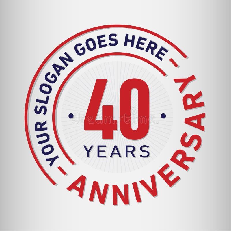 40 años del aniversario de la celebración de plantilla del diseño Vector y ejemplo del aniversario Cuarenta años de logotipo libre illustration