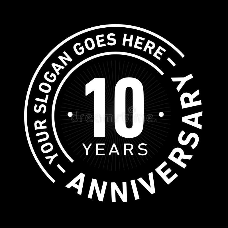 10 años del aniversario de la celebración de plantilla del diseño Vector y ejemplo del aniversario Diez años de logotipo libre illustration