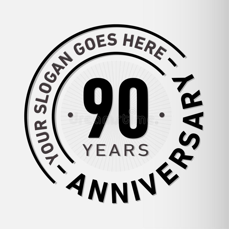 90 años del aniversario de la celebración de plantilla del diseño Vector y ejemplo del aniversario Noventa años de logotipo libre illustration