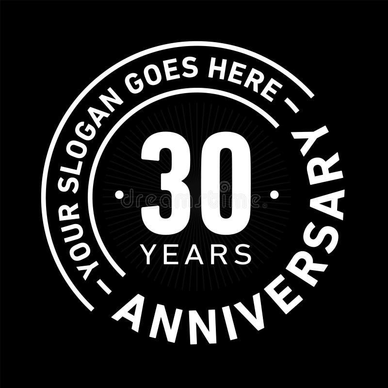 30 años del aniversario de la celebración de plantilla del diseño Vector y ejemplo del aniversario Treinta años de logotipo stock de ilustración