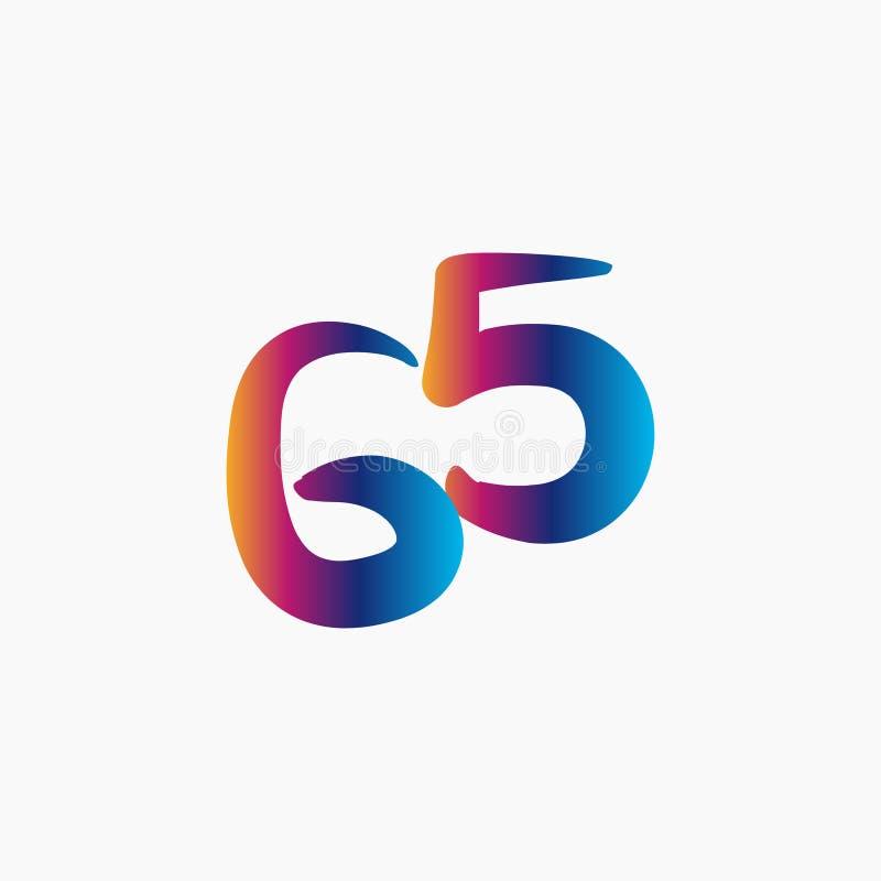 65 años del aniversario de la celebración del vector de la plantilla de ejemplo del diseño ilustración del vector