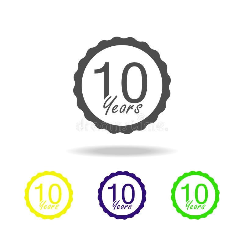 10 años del aniversario de la muestra de icono del color Elemento del icono del color de la muestra del aniversario Muestras e ic ilustración del vector