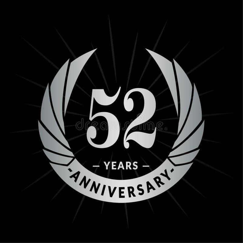 52 años del aniversario de plantilla del diseño Diseño elegante del logotipo del aniversario Cincuenta y dos años de logotipo ilustración del vector
