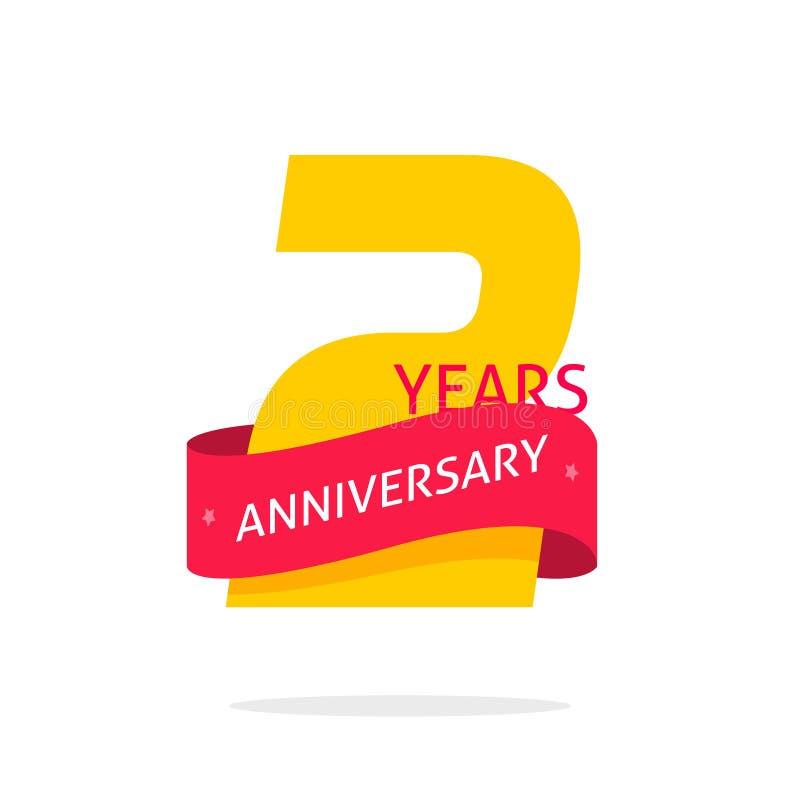 2 años del aniversario de plantilla del logotipo aislada en blanco, numeran la etiqueta con la cinta roja, cumpleaños de dos años ilustración del vector